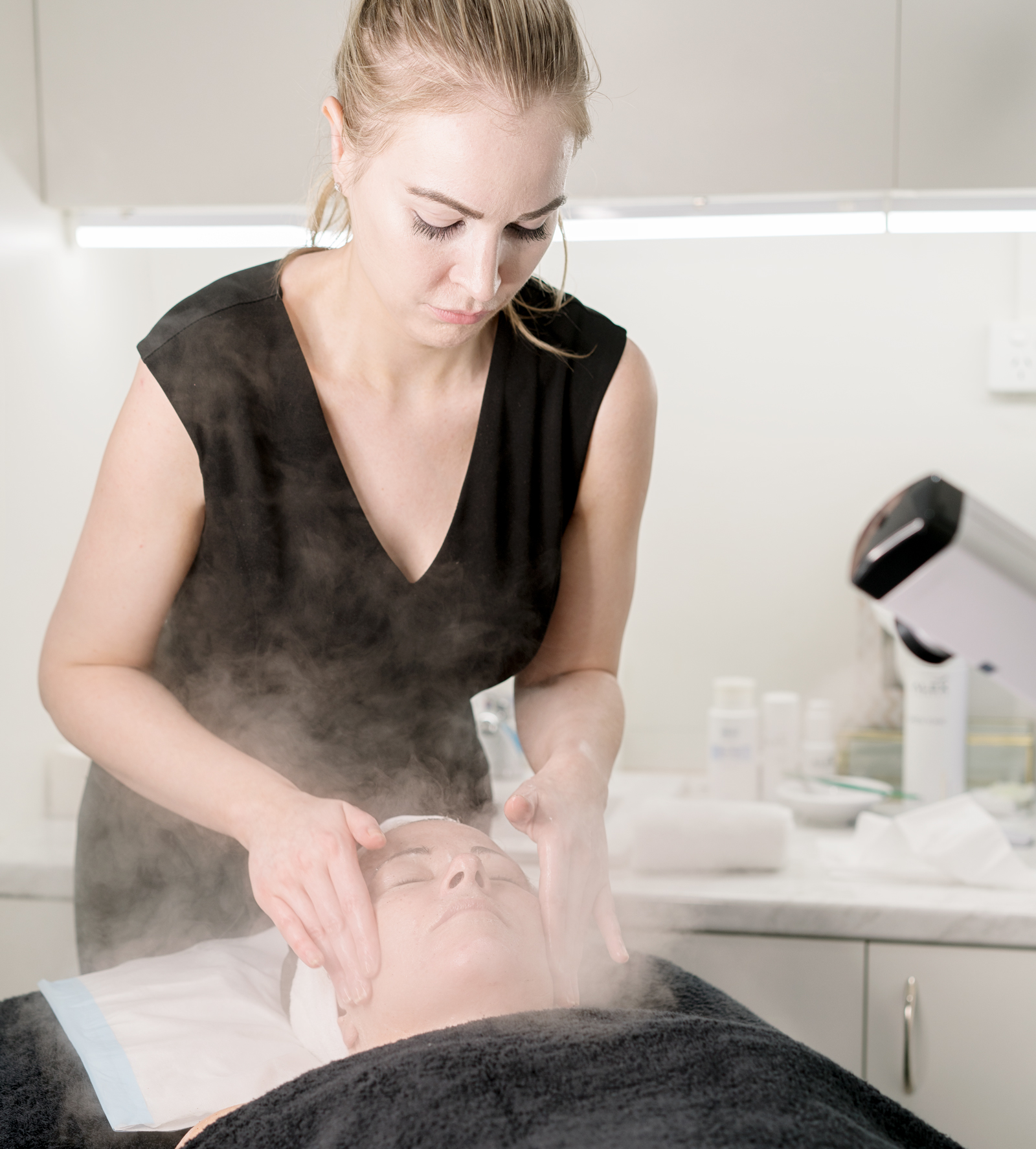 Yvonne Culhane performing a facial at Amirova Cosmetic Clinic